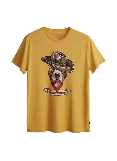 Bad Bear Bad Bear Erkek Hardal Bisiklet Yaka T-Shirt Hardal